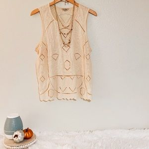 Lucky Brand Tank with Crocheted Detailing $12